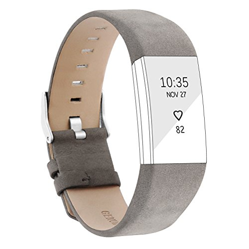 POY For Fitbit Charge 2 Bands, Genuine Leather Bands for Fitbit Charge 2 Replacement Wristbands, Matte Gray by POY