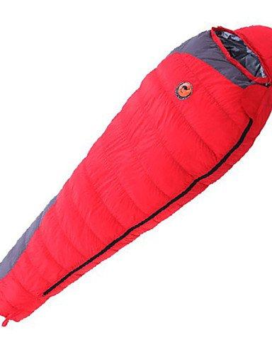 Saco de dormir momia bolsa única -15? plumón de pato, 1800 g, 210 x 80 viaje mantener caliente Camel, rojo: Amazon.es: Deportes y aire libre