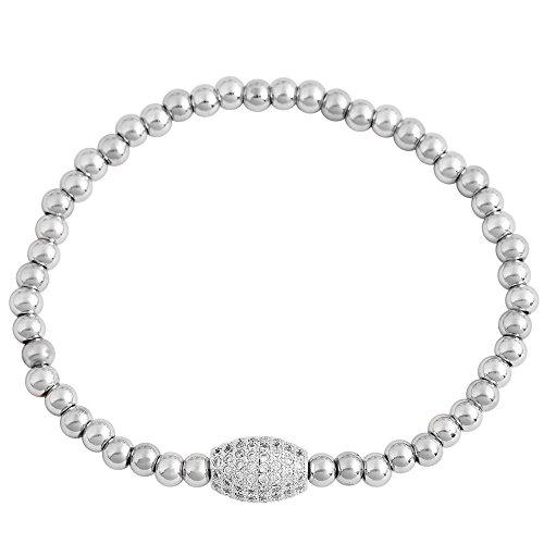 EDFORCE Stainless Steel Silver-Tone White Clear CZ Stretch Bracelet, 6