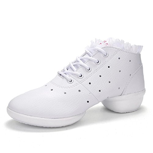 Women's Sneakers Whtie Lace M Leather 7 Sports Beauty Breathable Dance 1 US D2C up 58wn6qUx