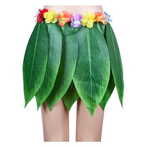Ti Leaf Hula Skirt Hawaiian Leaf Skirt Green Grass Skirt with Artificial Hibiscus Flowers for Beach,Luau Party Supplies(27in waist15in -