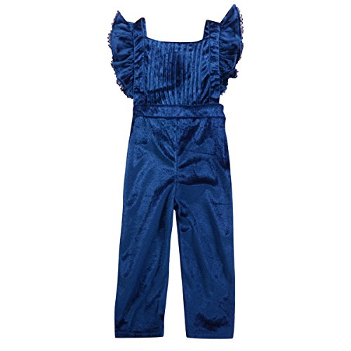Girls Pants Toddler Velour (puseky Toddler Baby Girls Ruffle Velvet Overalls Bib Pants Romper Jumpsuit Outfit (Blue, 3T-4T))