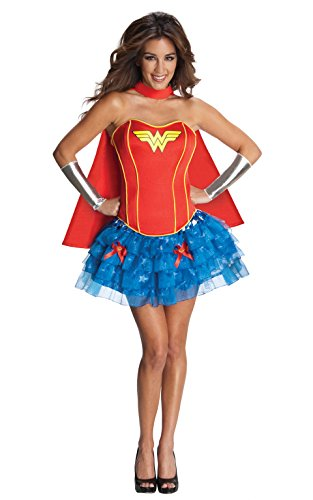 [Secret Wishes DC Comics Wonder Woman Corset And Tutu Costume, Blue/Red, Medium] (Dc Comics Halloween)
