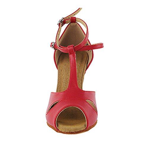 50 Tinten Rode Danskleedjes: Comfort Avondjurk Pumps, Ballroomschoenen Voor Latin, Tango, Salsa, Swing, Theather Kunst Met 50 Kleuren (2,5, 3 & 3,5 Hakken) S2803 Rood Leer