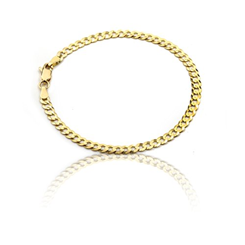 Floreo 10k Fine gold Curb Cuban Chain Bracelet and Anklet, 0.16 Inch 4mm