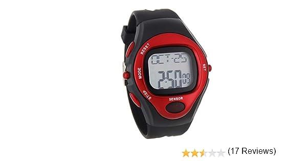 bd11da74fb8f BestOfferBuy Reloj Deportivo Unisex Digital Silicona Sensor Pulso Ritmo  Cardiaco Rojo  Amazon.es  Electrónica