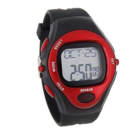 904653b41721 BestOfferBuy Reloj Deportivo Unisex Digital Silicona Sensor Pulso Ritmo  Cardiaco Rojo