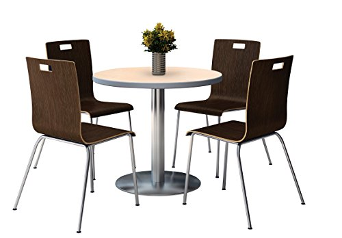 KFI seating Round Laminate Top Pedestal Table with 4 Espr...
