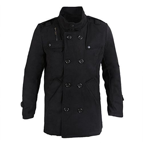 de Negro abrigo pecho chaqueta XL SODIAL de R invierno de doble la de delgado Hombres caliente capa largo qwaYt
