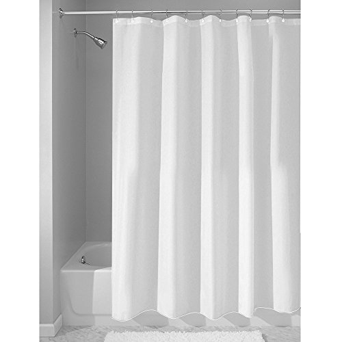 Ruthy's Textile Water-repellent Fabric Shower Curtain, 70-inch By 70-inch- White (70 Inch Curtains)