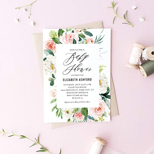 Dozili Floral Baby Shower Invitation Romantic Watercolor Spring Florals Invitation Baby Shower Invitation]()