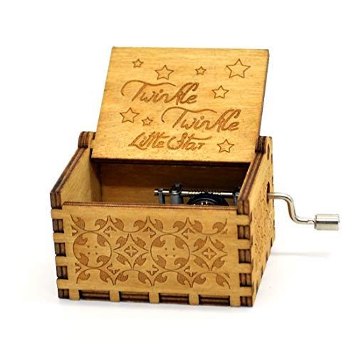 Music Box Twinkle Twinkle Little Stars- 18 Note Mechanism Antique Carved Music Box Crafts Melody Castle in Hand (Twinkle Twinkle Little - Box Christmas Mini Music