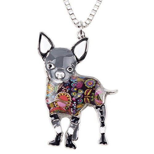 Cute Chihuahuas Bulldog Dog Necklace Chain Collar Pendant Enamel Pug Fashion Pom Gift Women Girl Charm (Gray)