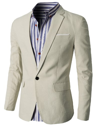 H2H Mens Casual Fashion Linen Blazer Jackets IVORY US M/Asia XL (KMOBL061)