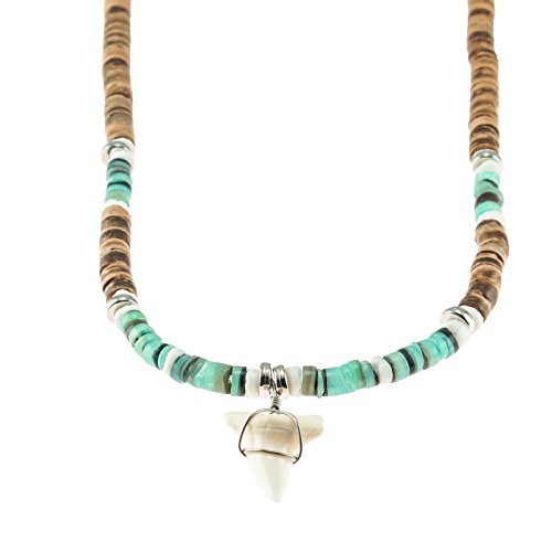 Natural Beads Shells Wood (Mako Shark Tooth Pendant on Tiger Coconut Wood Beads Necklace with Green Heishi and Puka Shells)