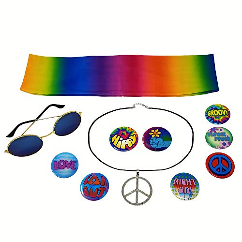 NorNovelties Hippie Costume Accessories  Peace Sign Necklace 8 Buttons Glasses Tie Dye Headband