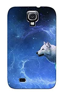Crazylove Anti-scratch And Shatterproof Wolf Looking At Big Moon Phone Case For Galaxy S4/ High Quality Tpu Case
