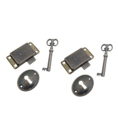 Iron Lockset - 2 Curio Cabinet Front Door key and Lock Set in Antique Finish