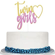 Colorful Twins Girl Cake Topper - Baby Girl Shower,It's A Girl Sign, Gender Reveal Party Decorations