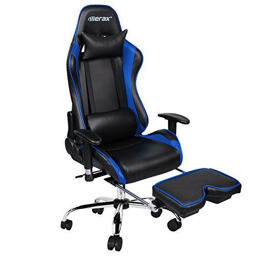 Merax Ergonomic Racing Gaming Chair with Adjustable Armrests High-Back PU (Arm Reclining Chair)