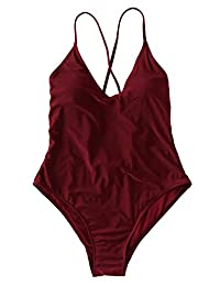 SOLY HUX Monokini - Bikini Sexy para Mujer, Burgundy, M