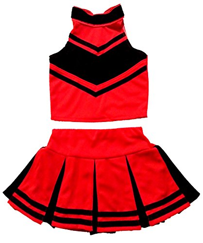 Cheerleading Uniforms For Halloween (Little Girls' Cheerleader Cheerleading Outfit Uniform Costume Cosplay Halloween Red/Black (M /)
