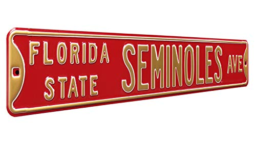 Authentic Street Signs 70029 Florida State Seminoles Ave, Heavy Duty, Steel Street Sign, Team Color, 36