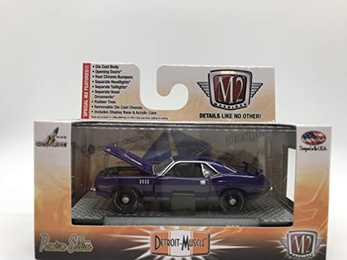 M2 Machines Detroit-Muscle 1971 Plymouth Cuda 440-6 1:64 Scale R27 14-56 Dark Purple Details Like NO Other! Over 42 Parts