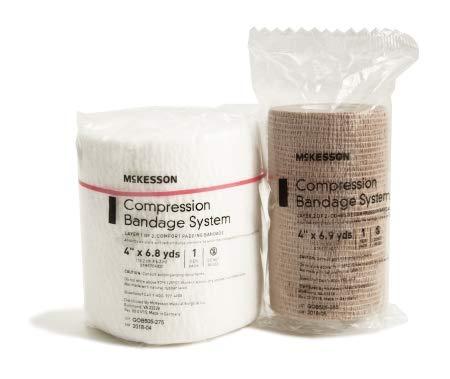 10062108 2 Layer Compression Bandage System McKesson 4 Inch X 6-4/5 Yard Self-Adherent Closure Tan NonSterile