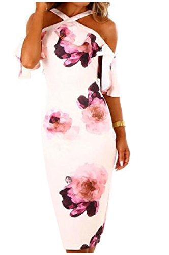 Strap Stylish Women Coolred Crossover Pink Dress Floral Capshoulder Formal Printed SqqFA6wx