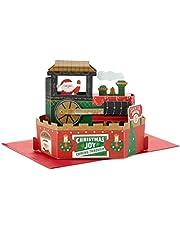 Kerstkaart voor beide van Hallmark - 3D Pop Up Kerstman Trein
