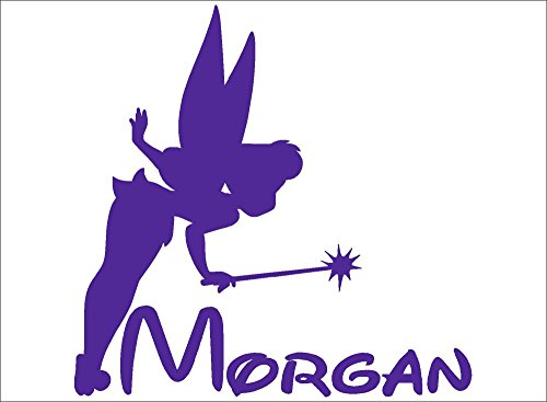 Bermuda Shorts Graphics Tinkerbell Personalized Name Decal/Vinyl Tumbler, Vehicle, Home Disney Graphic Sticker (Purple)