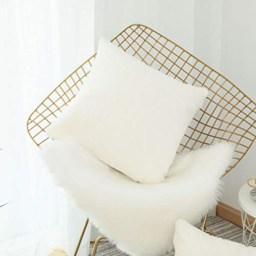 Home Brilliant Plush Mongolian Faux Fur Suede Throw Pillow Cover Fluffy Sheepskin Cushion Case for Sofa, 18x18 inch, White (Pillow Shag White)
