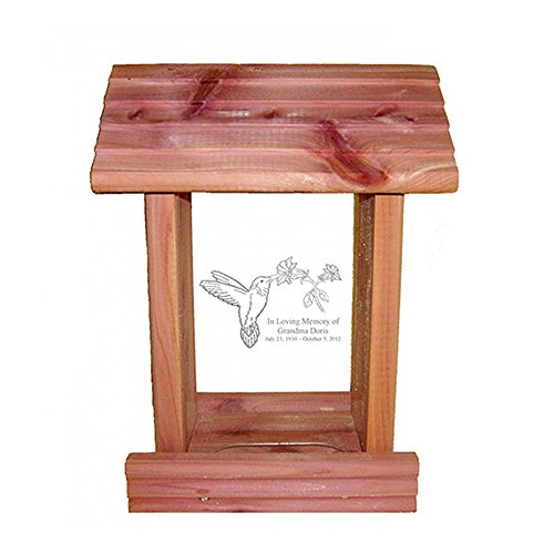 Personalized Memorial Bird Feeder - Hanging Cedar Wood Bird Feeder with Custom Engraved In Loving Memory Inscription & Choice of Theme Sympathy Gift Made in USA (Hummingbird) ()