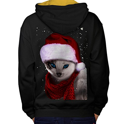 Cat Cute Funny Christmas Men M Contrast Hoodie Back | Wellcoda