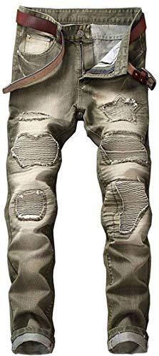 Estilo Denim Rette Gamba Uomini Lavato Casuale Jeans Orifizi 88 Pantaloni Cher Retrò Especial Grün Bobo Essentials qg7nw8A8