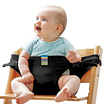 Baby Dining Chair Safety Belt Portable Seat Lunch Chair Seat Stretch Wrap Feeding Chair Harness Booster Seat Belt Black