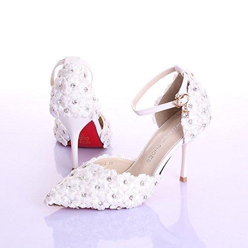 dama las Blanco mujeres TongBao honor hx Zapatos de dedo Flor tacón la aguja punta blanco de sandalias de de y de boda alto novia Rhinestones tacón 808wYq4