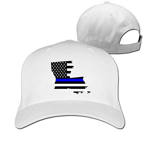 - Louisiana State Map Element Shape Thin Blue Line Design Designer Trucker Cap Peaked Hat Unisex Baseball Hats