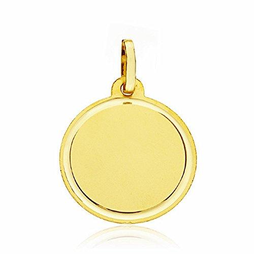 Médaille pendentif 18k 18mm en or sculpté disque lisse. [AA1923]