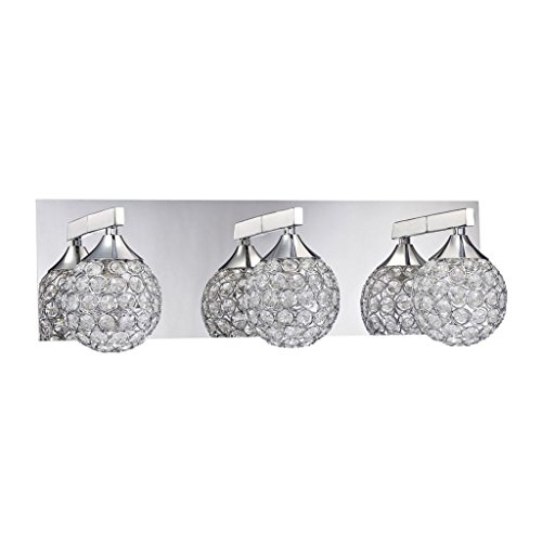- Kendal Lighting VF4200-3L-CH Crys 3-Light Vanity Fixture, Chrome Finish and Optic Crystal Jewel Accents