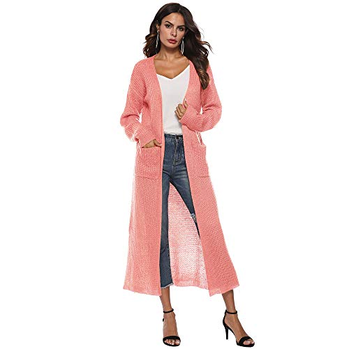 - GOVOW Autumn Solid Cardigan for Women Long Sleeve Open Cape Casual Coat Blouse Kimono Jacket (US:8/CN:L,Pink)