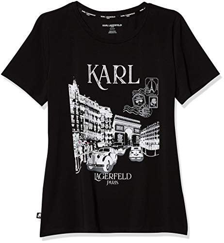 Karl Lagerfeld Paris Women's Short Sleeve Crew Neck Logo T Shirt