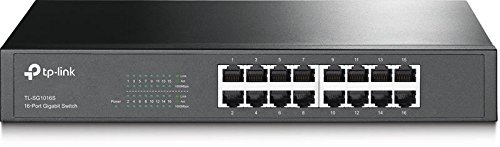 TP-Link 16 Port Gigabit Ethernet Network Switch | Fanless | Life Time Warranty| Plug-and-Play | Traffic Optimization | Desktop/Rackmount (TL-SG1016S) by TP-Link