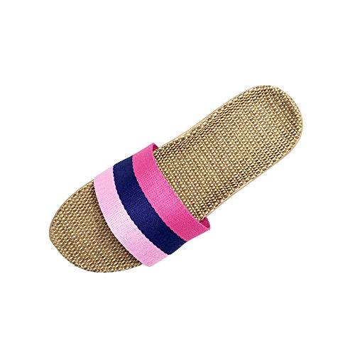 Slipper Shoes Women HRFEER Linen Summer Silent pink for Sweat Home Men 6 Slippers Indoor Sandals xgR47gYqw