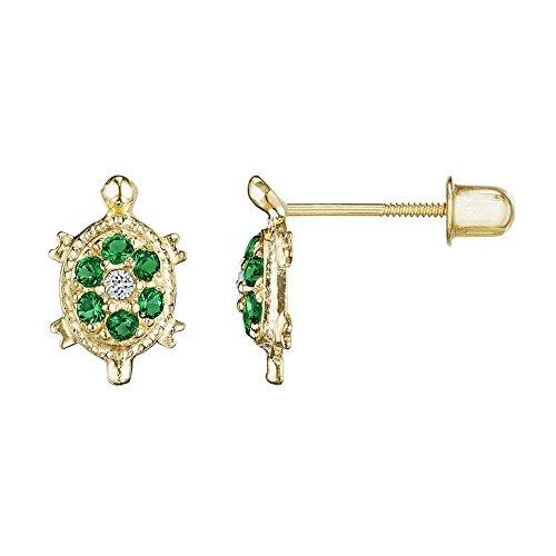 Emerald Green 14kt Solid Gold Kids Turtle Stud Screwback Earrings