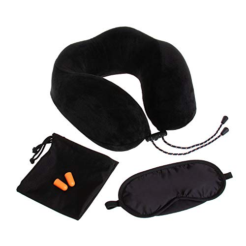 Globite Intrepid Memory Foam Neck Pillow - The Best Neck Pillow with 360 Head & Neck Support Plus Eye Mask and Ear Plugs ()