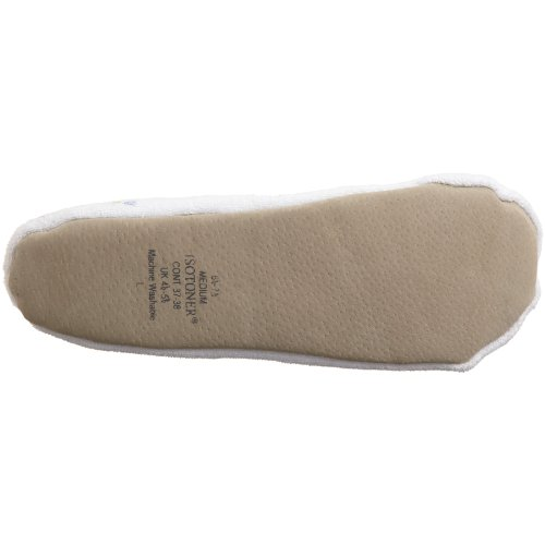 ISOTONER Women's Embroidered Terry Ballerina Slipper, White, Large