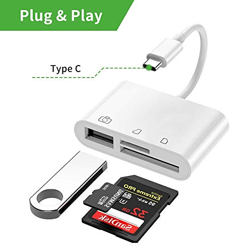 SD Card Reader, KaIyuan 3 in 1 USB C to USB Camera Connection Kit SD/Micro SD Card Reader, USB C to USB2.0 Female OTG Adapter for New iPad Pro 11