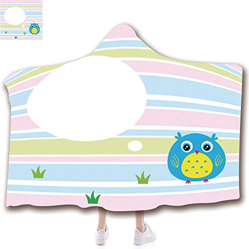 "Wearable Hooded Blanket Fashion 3D Printed Design Flannel Blanket with Hood Adults Kids (43""H x 59""W) Blankets,Cute owl Cartoon Greeting Card vector1"